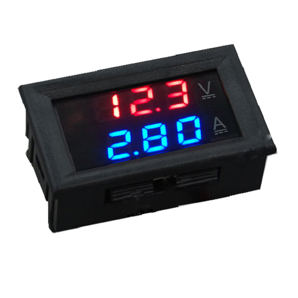 Dual Red Blue LED Digital Volt Meter + Ampmeter (AMH09G) - Click Image to Close