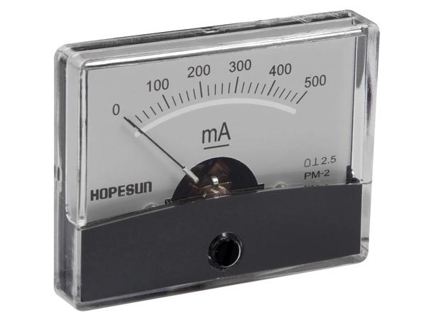 Analogue Current Panel Meter 500mA (VEL21E)