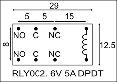 Relay 6V 5A DPDT (RLY002) [RLY002] - R59.75 : Yebo Electronics