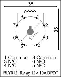 Relay, 8-pin, 12V 10A DPDT (RLY012) [RLY012] - R149.06 : Yebo ...