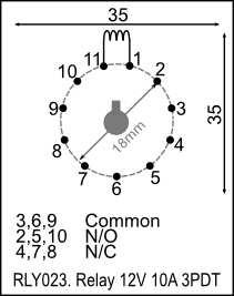 Relay, 11-pin, 12V 10A DPDT (RLY023) [RLY023] - R144.31 : Yebo ...